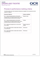 AS Level Process to performance - marking grids