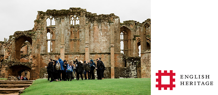 Image of a school group visiting part of the ruins of Kenilworth Castle. Photo by English Heritage.