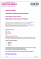 Unit R092 - Exploring game ceation resources - Lesson element