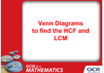 Venn diagrams to find the HCF and LCM: PowerPoint - cover